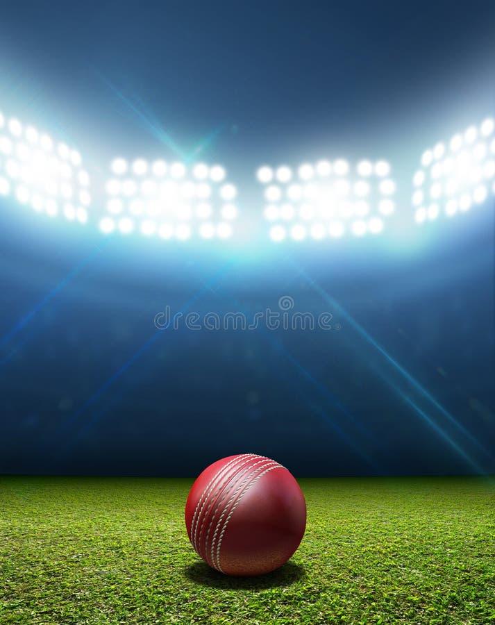 Stadio e palla del cricket fotografie stock