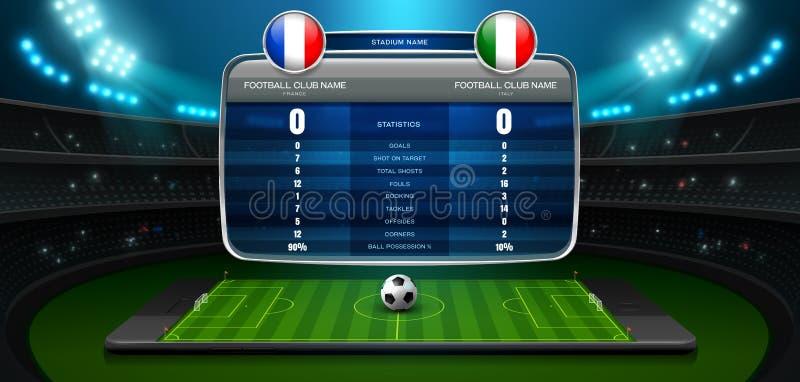 Stadio e riflettore in tensione del bordo del punteggio di calcio mobile illustrazione di stock
