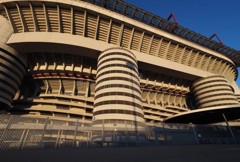 Stadio Giuseppe Meazza powszechnie znać jako San Siro, jest stadionem futbolowym w Mediolan, Włochy który jest domem A, C Mediola obraz royalty free