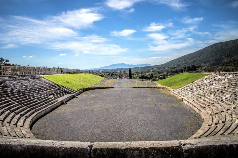 Stadio nella città di Messina antica, Peloponnesus, Grecia immagine stock libera da diritti