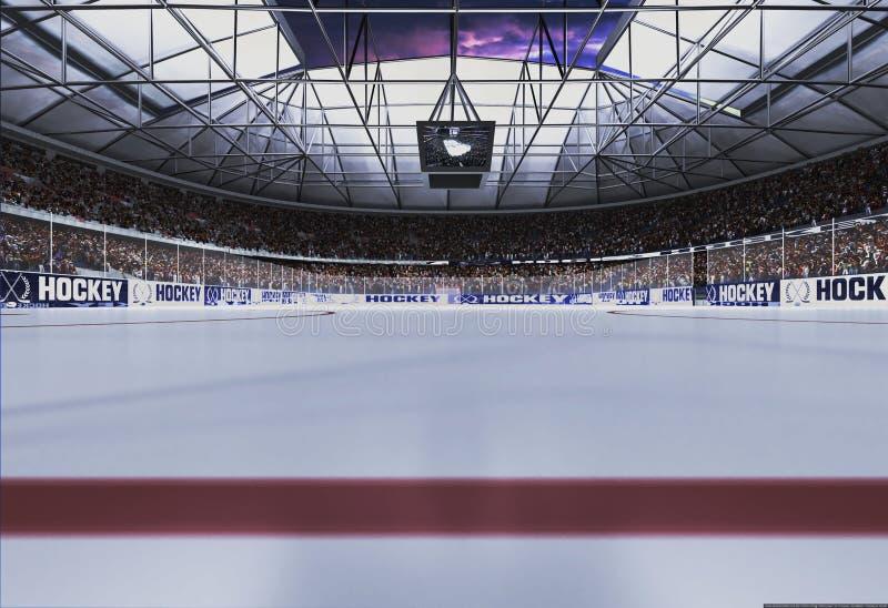 Stadio vuoto dell'hockey con il cielo di sera fotografia stock