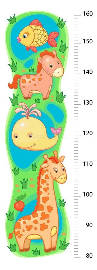 Stadiometervägg eller höjdmeter från 80 till 160 cm med giraffet och valet, häst, fisk, hav, sjö vektor illustrationer