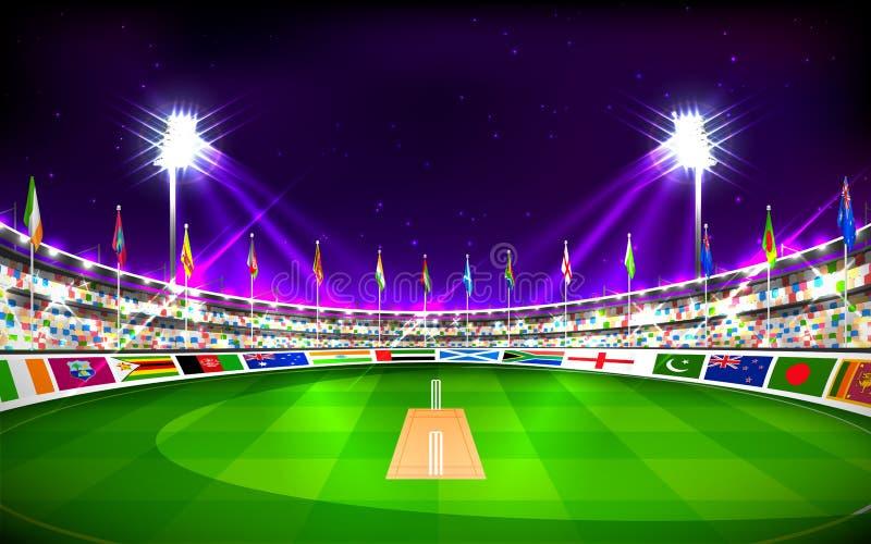 Stadion av syrsavisningflaggor av deltagandeländer royaltyfri illustrationer