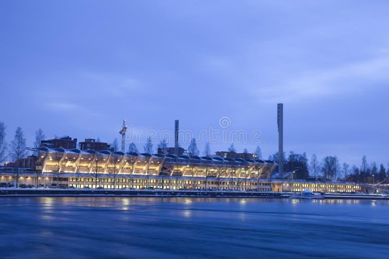 Stadion bij Nacht stock fotografie