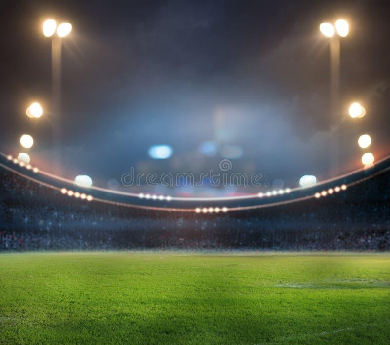 Stadion in den Lichtern und in den Blitzen 3d vektor abbildung