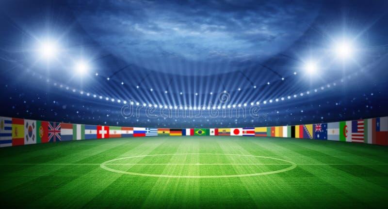 Stadion en natiesteamsvlaggen stock afbeelding