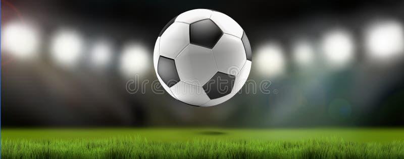 Stadion för fotboll för fotbollboll 3d-illustration vektor illustrationer