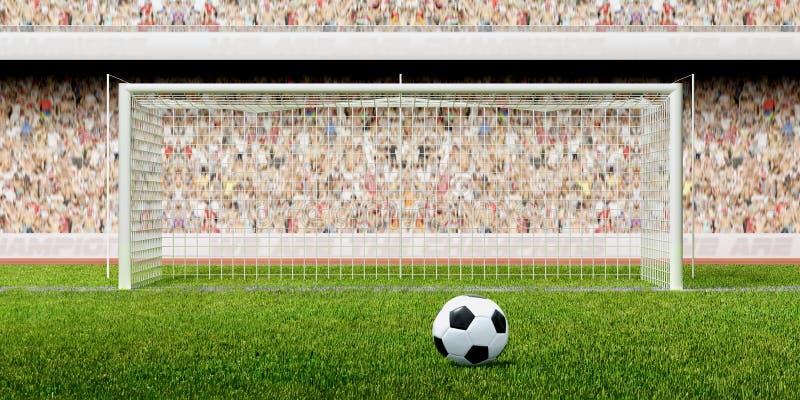 stadion för fotbollstrafffotboll stock illustrationer