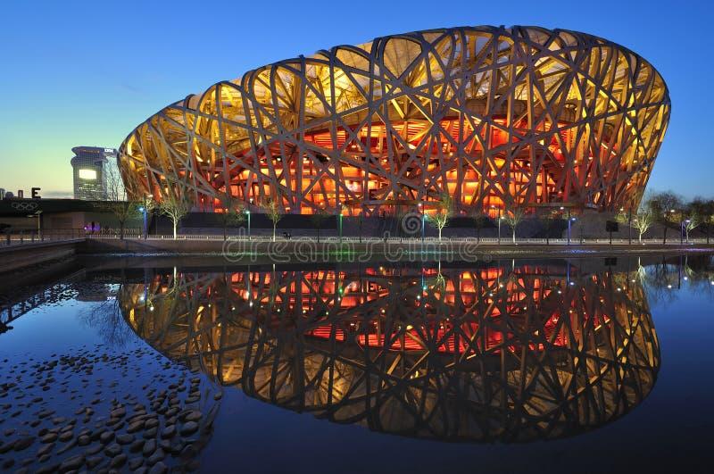 stadion för platser för natt för beijing porslin nationell royaltyfri bild