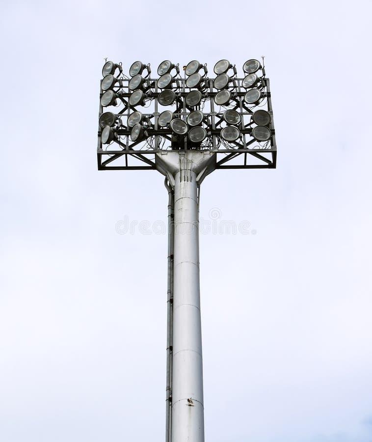 stadion för pol för floodlightfotbollmetall royaltyfri foto