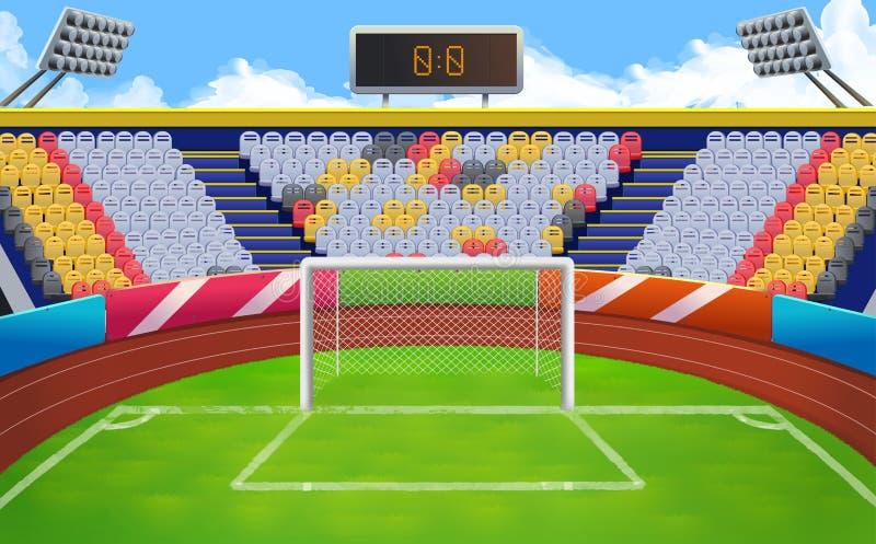 Stadion fotbollmål royaltyfri illustrationer
