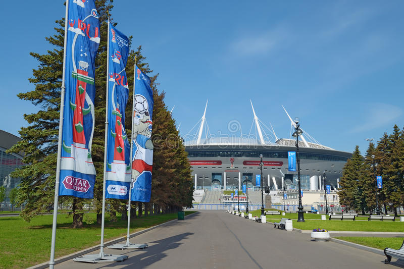 Stadion futbolowy dla pucharu świata 2018 w St Petersburg obraz royalty free