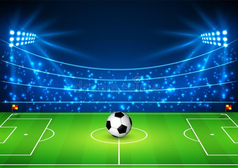 Stadion Futbolowy z piłką Boisko do piłki nożnej w świetle reflektorów Futbolowy puchar świata również zwrócić corel ilustracji w ilustracji