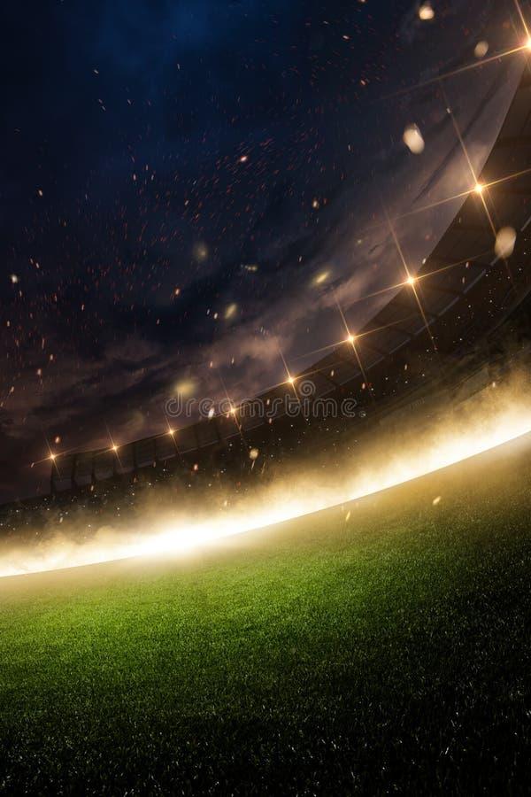 Stadion i brand, rök och natt royaltyfri bild