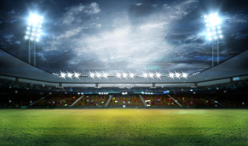 Stadion i ljus arkivfoto