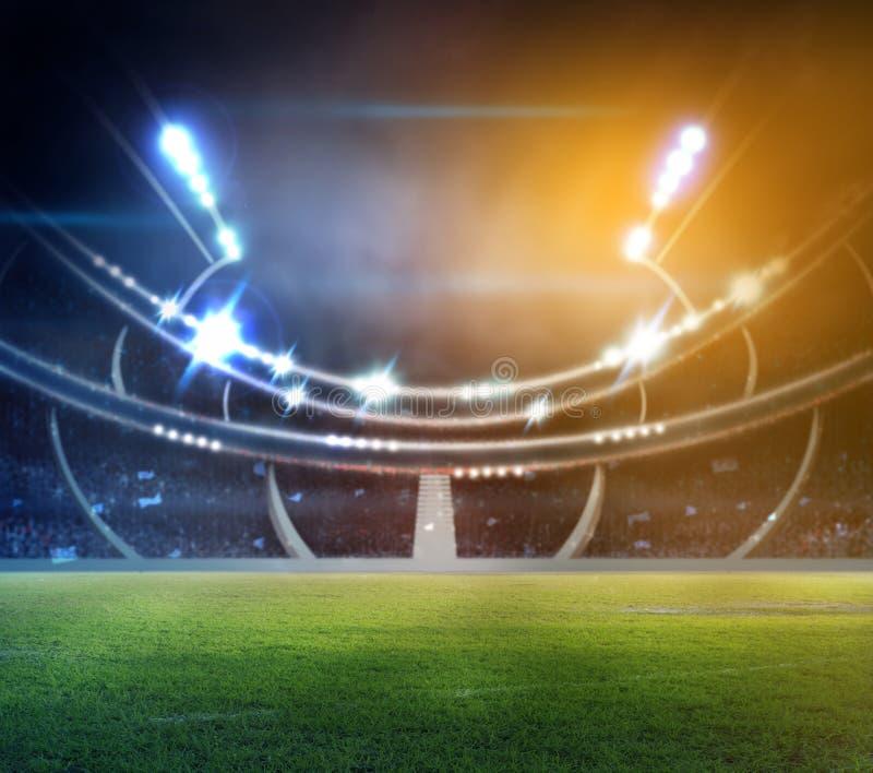 Stadion i ljus och exponeringar 3d stock illustrationer