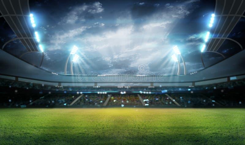 Stadion i ljus och exponeringar 3d vektor illustrationer