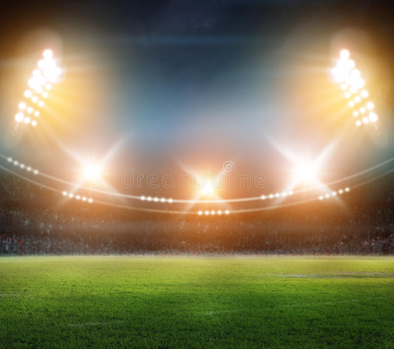Stadion i ljus och exponeringar 3d royaltyfri illustrationer