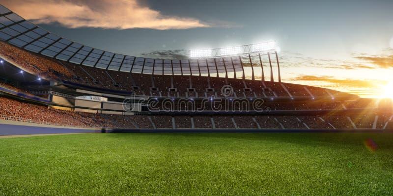 Stadion i solnedgång med folkfans illustrationen 3d framför royaltyfri illustrationer