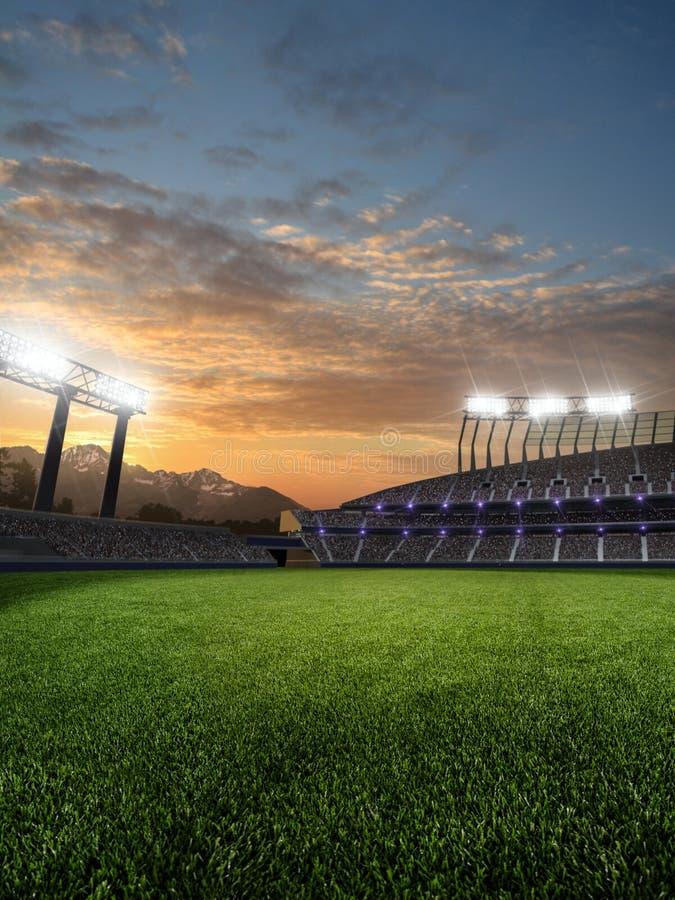 Stadion i solnedgång med folkfans illustrationen 3d framför vektor illustrationer