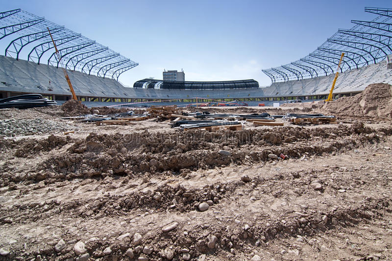 Stadion im Aufbau stockfotos