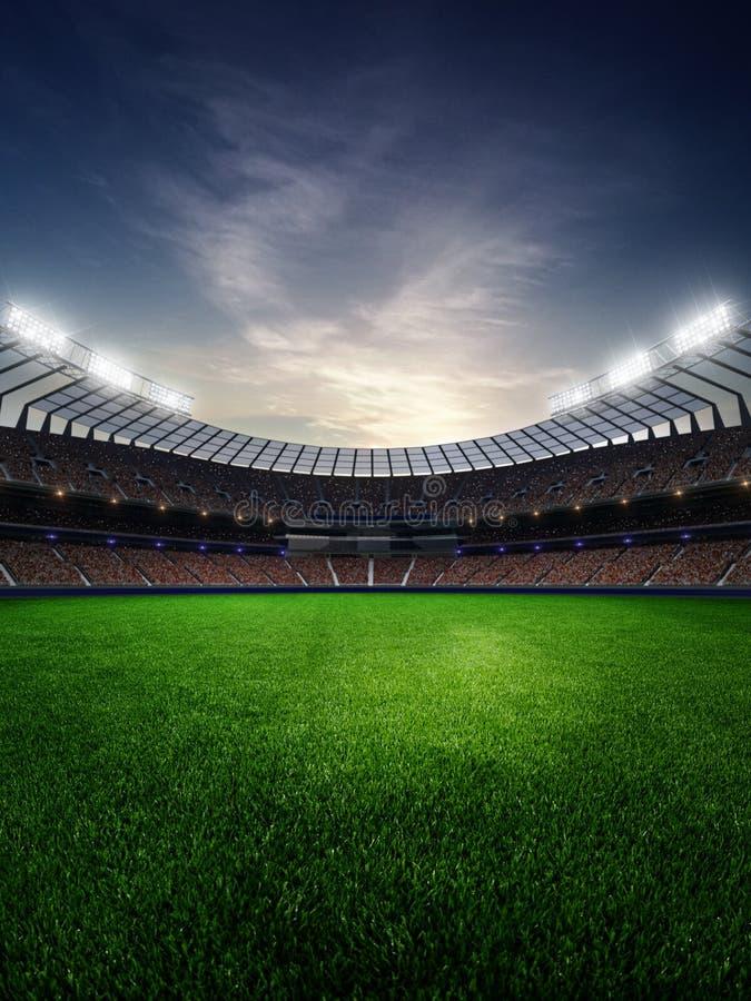 Stadion im Sonnenuntergang mit Leutefans 3d übertragen Abbildung stock abbildung