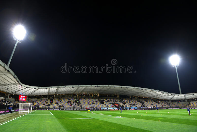 Stadion Ljudski vrt in Maribor, Slovenia. MARIBOR, SLOVENIA - NOVEMBER 17, 2015: Panoramic view of Stadion Ljudski vrt in Maribor, Slovenia before the UEFA EURO stock image