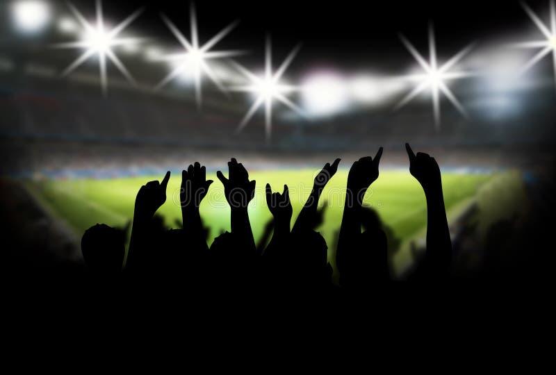 Stadion med fans stock illustrationer