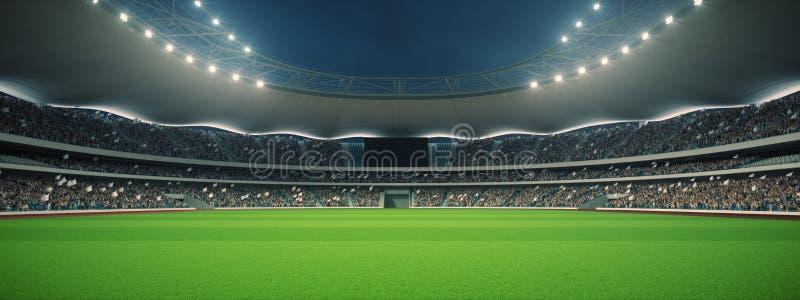 Stadion med fans natten för matchen framförande 3d royaltyfri illustrationer