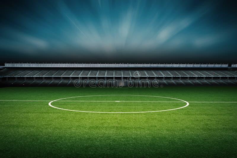 Stadion med fotbollfältet vektor illustrationer