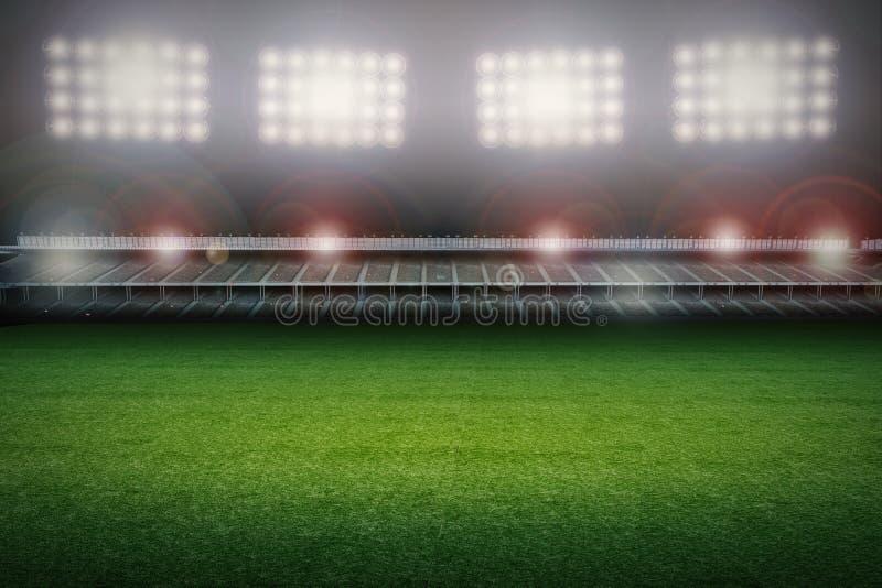 Stadion med fotbollfältet stock illustrationer