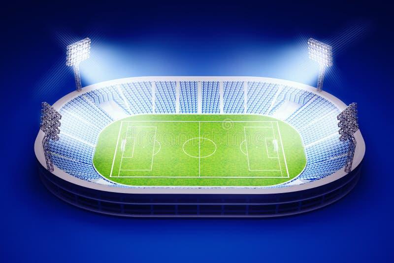 Stadion med fotbollfältet med ljusen på mörker - blå bakgrund royaltyfri illustrationer