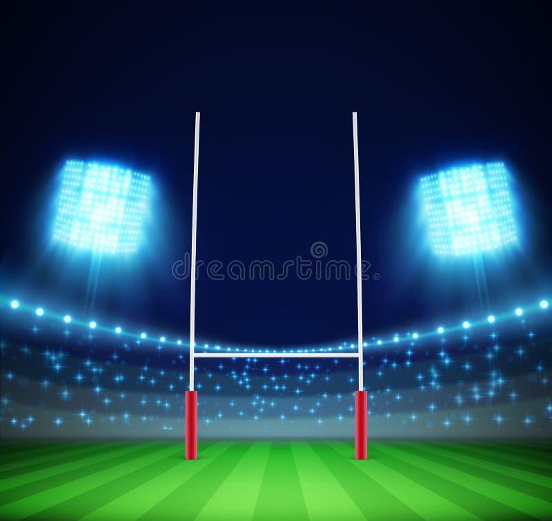 Stadion med ljus och rugbymålet eps 10 stock illustrationer
