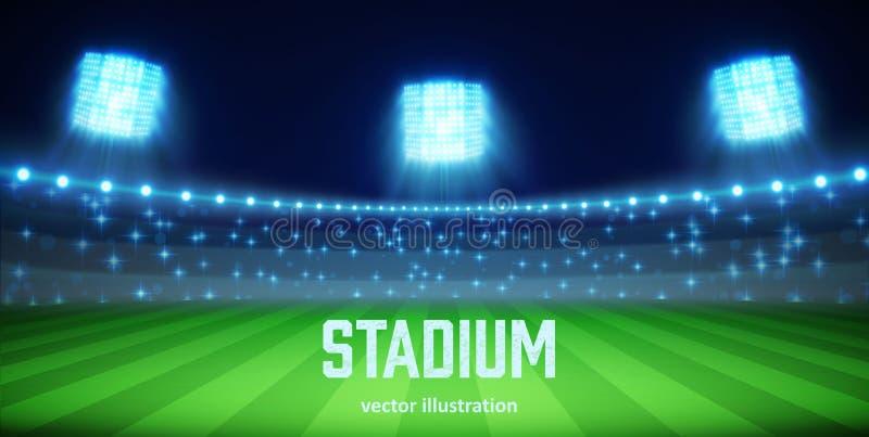 Stadion med ljus och tribun eps 10 stock illustrationer