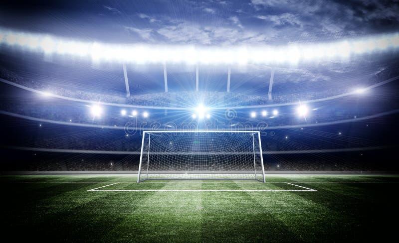 Stadion med målstolpen 3d arkivbilder