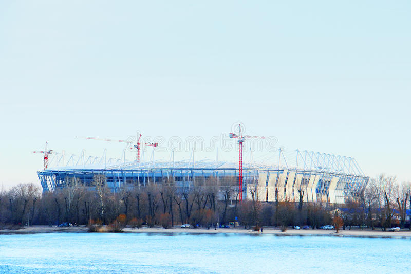 Stadion mundial 2018 bouw Postov-op-trek, 7 febriary 2017 aan De linkeroever van de Don rivier royalty-vrije stock foto