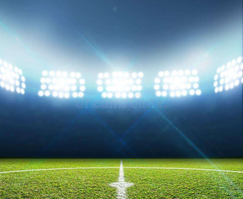 Stadion och fotbollgrad royaltyfri foto