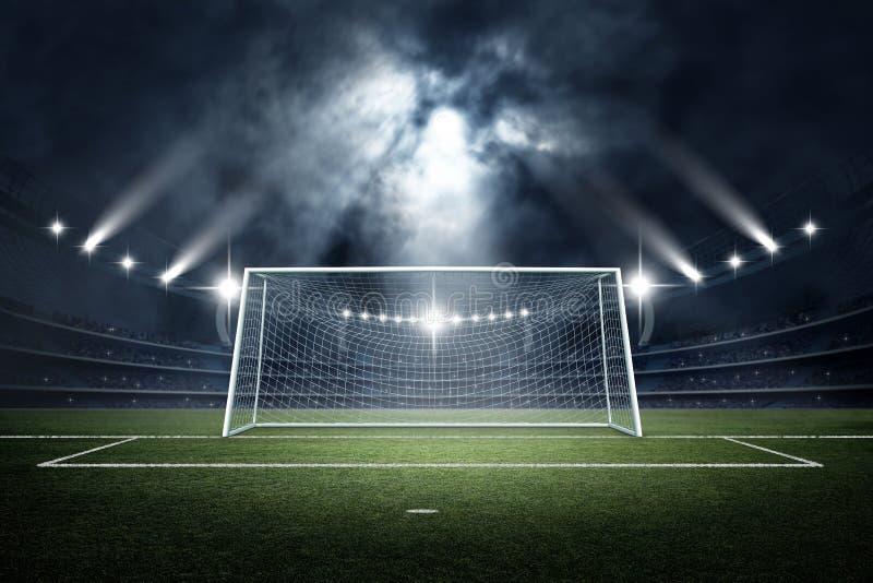 Stadion- och målstolpe, tolkning 3d royaltyfri illustrationer