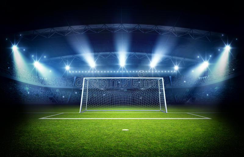 Stadion- och målstolpe, tolkning 3d stock illustrationer