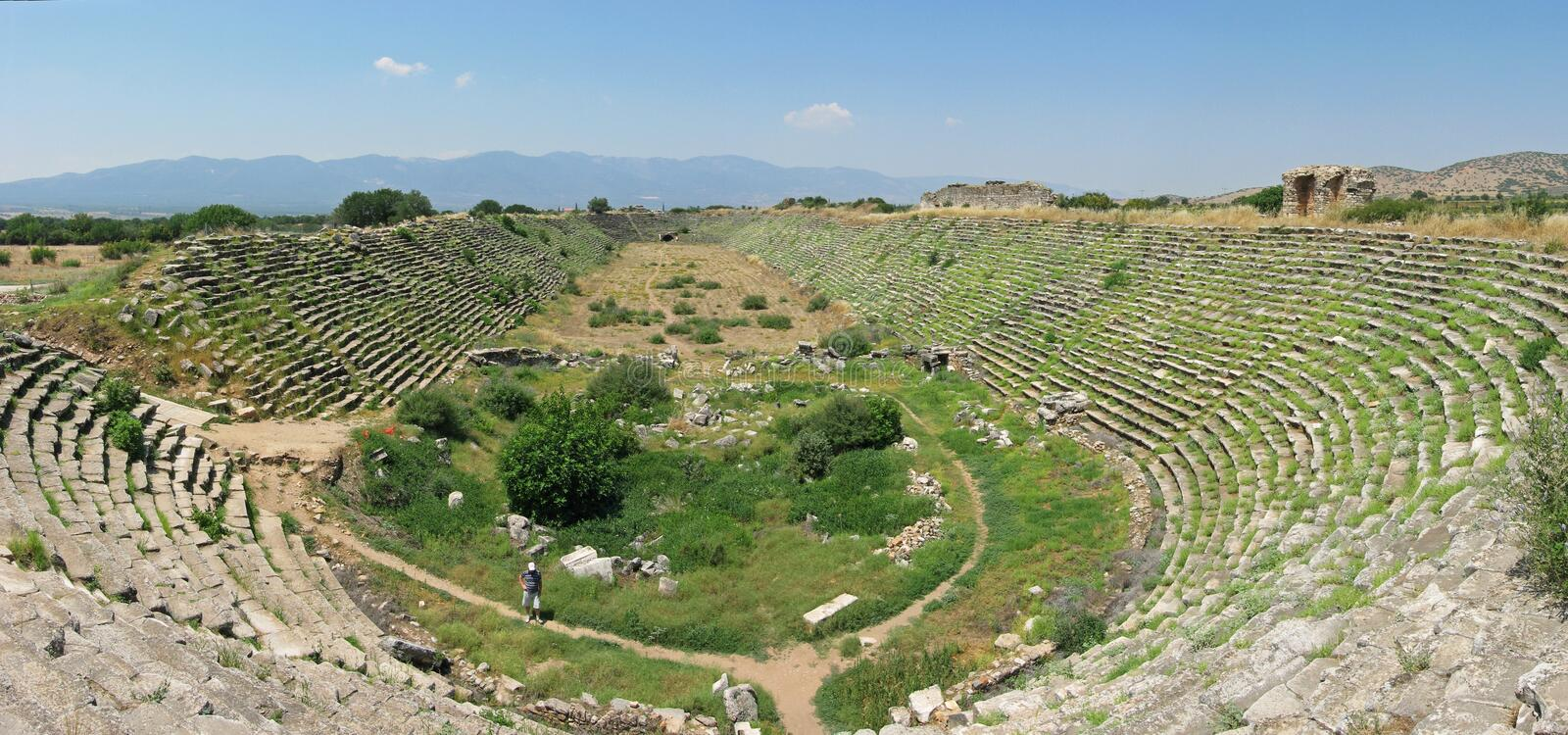 Stadion in oude stad Aphrodisias stock afbeelding
