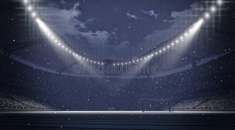 Stadion snöfall stock illustrationer