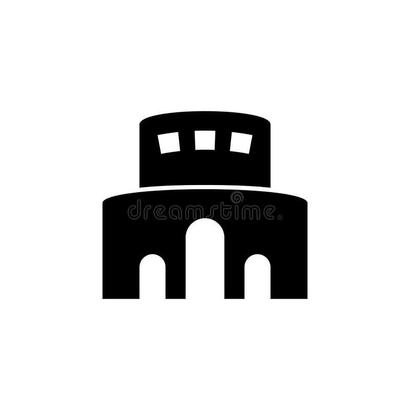 Stadion som bygger den linjära symbolen Tunn linje illustration Sportarenakontursymbol Vektor isolerad översiktsteckning royaltyfri illustrationer