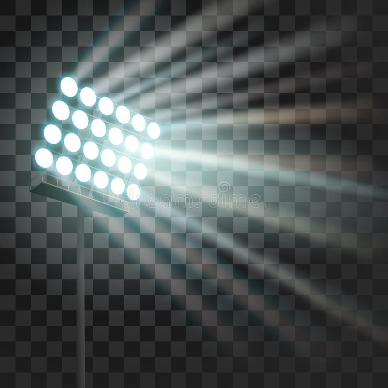 Stadion som glöder ljus Stadionprojektorljus till lekar för illumnateafton- eller nattsport, konserter, shower argentina stock illustrationer