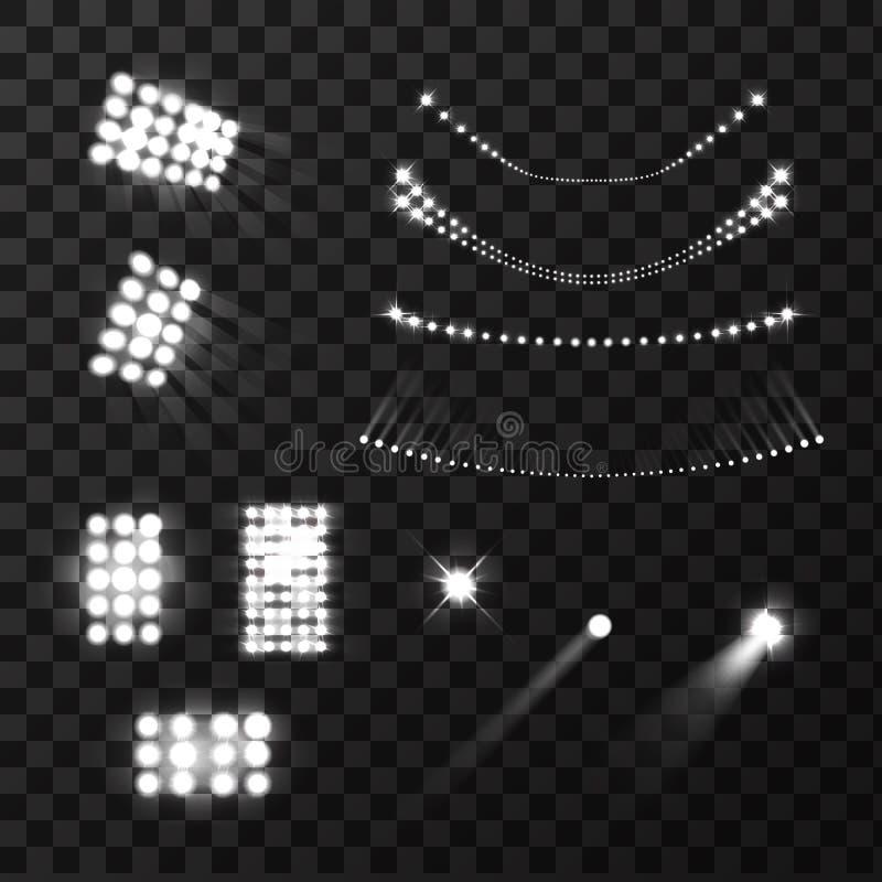 Stadion tänder den realistiska uppsättningen royaltyfri illustrationer
