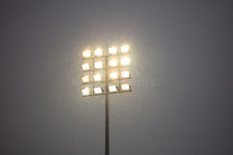 Stadion tänder på pol på stadion, snöig natt Mörk himmel i motsats till intensiva ljus royaltyfria bilder
