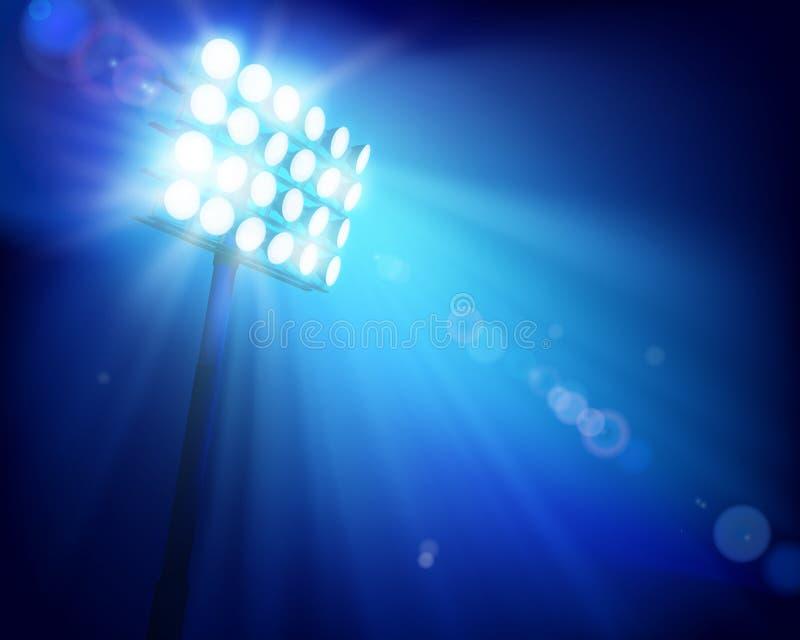Stadion under flodljus också vektor för coreldrawillustration royaltyfri illustrationer