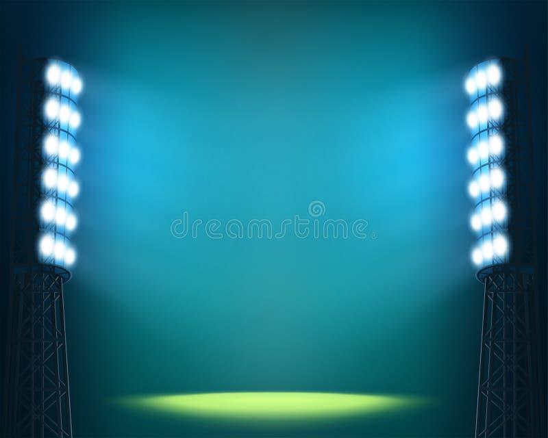 Stadionen tänder mot bakgrund för mörkernattsky stock illustrationer