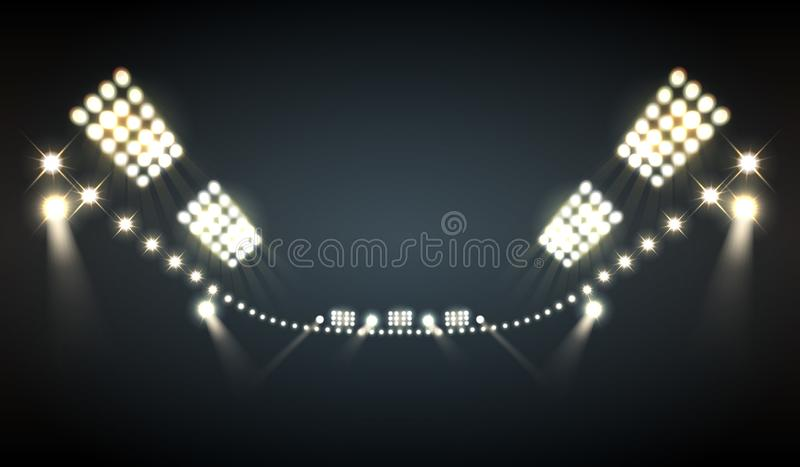 Stadionflodljusbakgrund vektor illustrationer