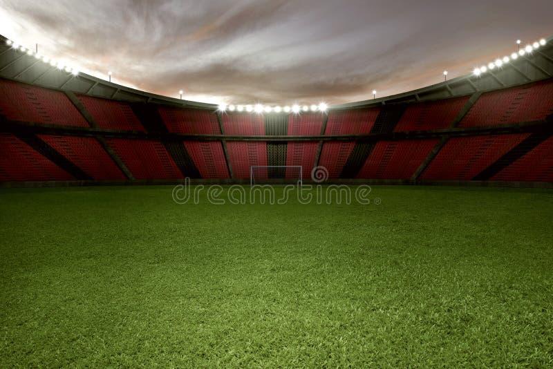 Stadionfotboll med grönt gräs och den tomma tribun royaltyfri foto