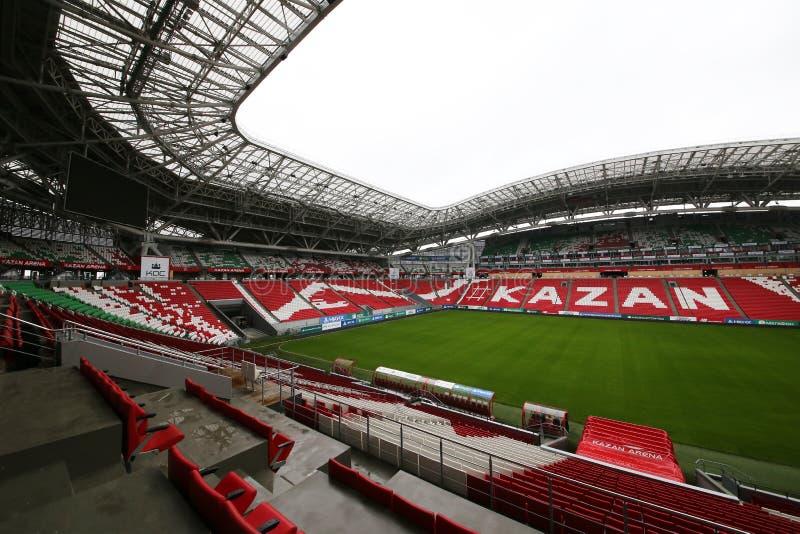 Stadionkazan Arena, die gehouden voetbalwedstrijden van de Wereldbeker van 2018 zal zijn stock foto's